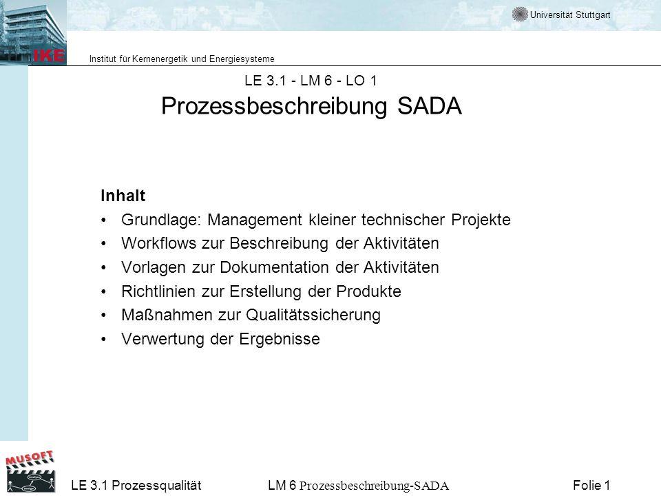 Universität Stuttgart Institut für Kernenergetik und Energiesysteme LE 3.1 ProzessqualitätLM 6 Prozessbeschreibung-SADA Folie 2 Prozessbeschreibung SADA Verwendete Lernobjekte LO 2: Prozessbeschreibung SADA LO 3: Zusammenfassung, Abspann LO 4: Tests zu LM 6