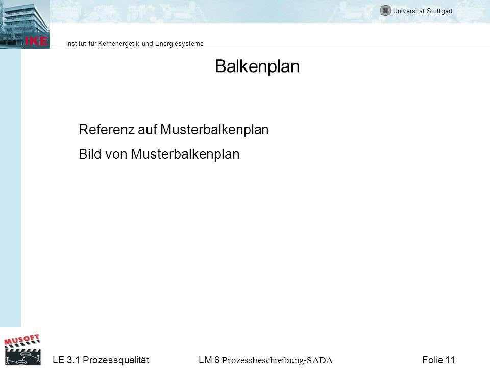 Universität Stuttgart Institut für Kernenergetik und Energiesysteme LE 3.1 ProzessqualitätLM 6 Prozessbeschreibung-SADA Folie 11 Balkenplan Referenz a