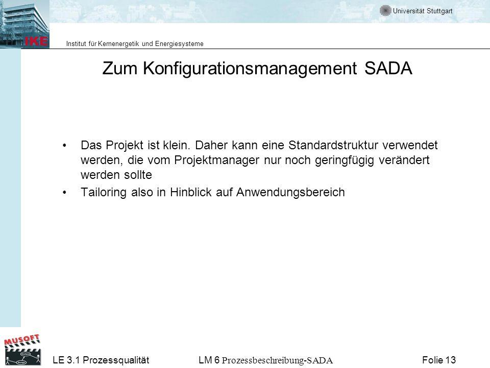 Universität Stuttgart Institut für Kernenergetik und Energiesysteme LE 3.1 ProzessqualitätLM 6 Prozessbeschreibung-SADA Folie 13 Zum Konfigurationsman