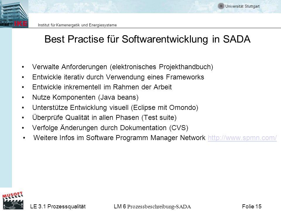 Universität Stuttgart Institut für Kernenergetik und Energiesysteme LE 3.1 ProzessqualitätLM 6 Prozessbeschreibung-SADA Folie 15 Best Practise für Sof