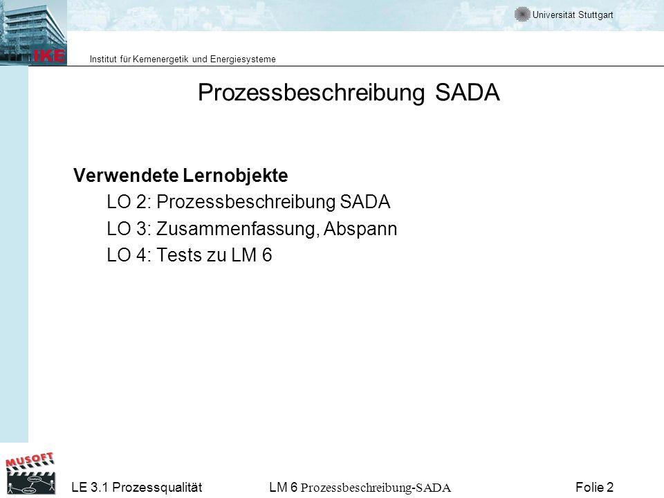 Universität Stuttgart Institut für Kernenergetik und Energiesysteme LE 3.1 ProzessqualitätLM 6 Prozessbeschreibung-SADA Folie 3 Das sollten Sie heute lernen Es wird die Anwendung des V-Modelles für die Erstellung von Studien- und Diplomarbeiten erläutert.
