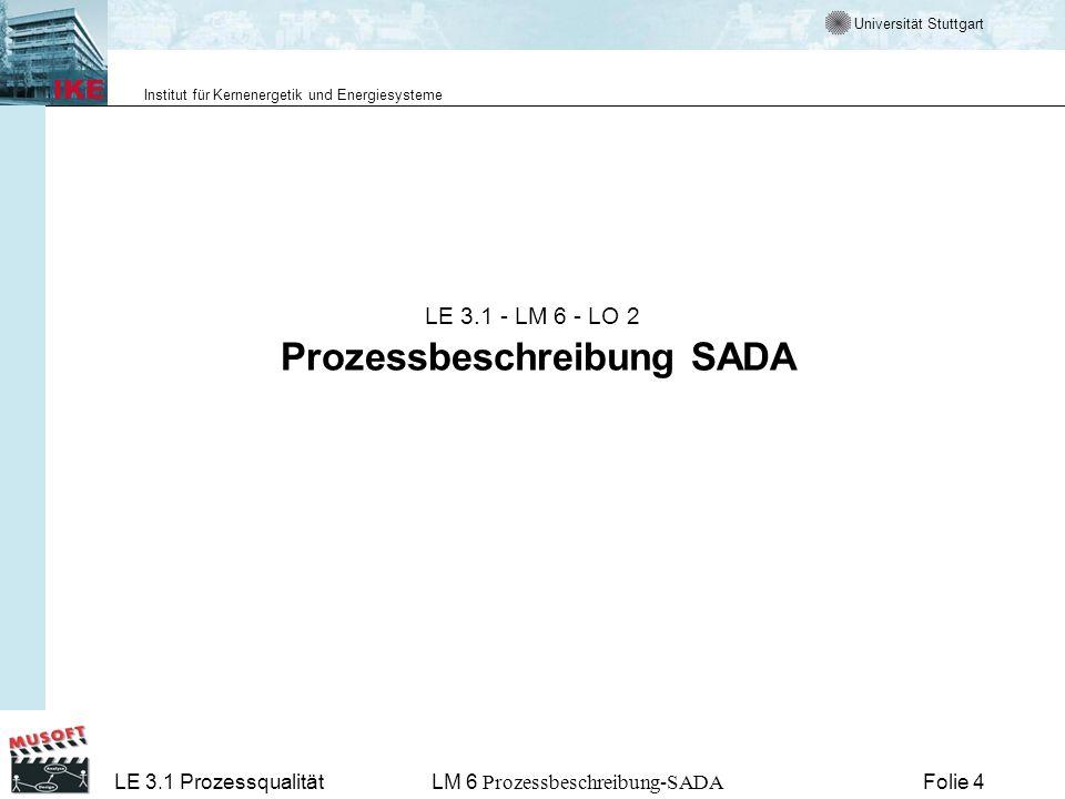 Universität Stuttgart Institut für Kernenergetik und Energiesysteme LE 3.1 ProzessqualitätLM 6 Prozessbeschreibung-SADA Folie 15 Best Practise für Softwarentwicklung in SADA Verwalte Anforderungen (elektronisches Projekthandbuch) Entwickle iterativ durch Verwendung eines Frameworks Entwickle inkrementell im Rahmen der Arbeit Nutze Komponenten (Java beans) Unterstütze Entwicklung visuell (Eclipse mit Omondo) Überprüfe Qualität in allen Phasen (Test suite) Verfolge Änderungen durch Dokumentation (CVS) Weitere Infos im Software Programm Manager Network http://www.spmn.com/http://www.spmn.com/