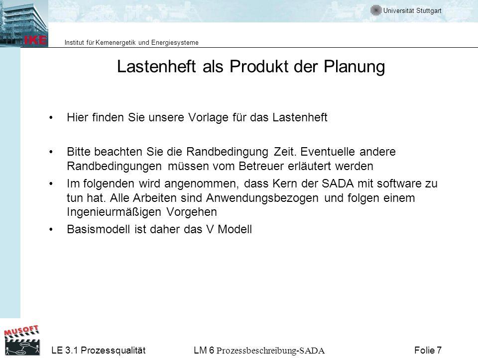 Universität Stuttgart Institut für Kernenergetik und Energiesysteme LE 3.1 ProzessqualitätLM 6 Prozessbeschreibung-SADA Folie 28 Diese Fragen sollten Sie jetzt beantworten können Wie organisiere ich die Durchführung einer SADA Wo finde ich Vorlagen für die zu erstellenden Produkte Wie passe ich die Vorlagen an meine Probleme an Wie mache ich einen Plan für die Durchführung meiner Arbeit Wie kontrolliere ich die Arbeitsfortschritte Für allgemeine Frage zum Vorgehensmodell verweisen wir auf den LM 4 der LE 3.1.LM 4