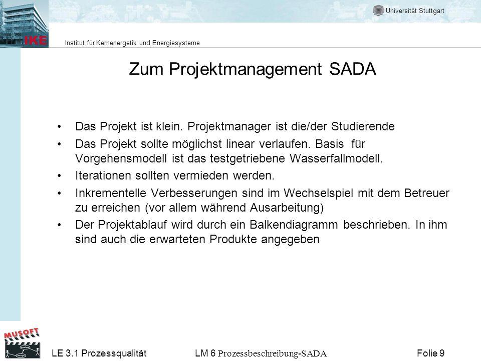 Universität Stuttgart Institut für Kernenergetik und Energiesysteme LE 3.1 ProzessqualitätLM 6 Prozessbeschreibung-SADA Folie 10 Aktivitäten, Produkte und Rollen im Projekt SADA