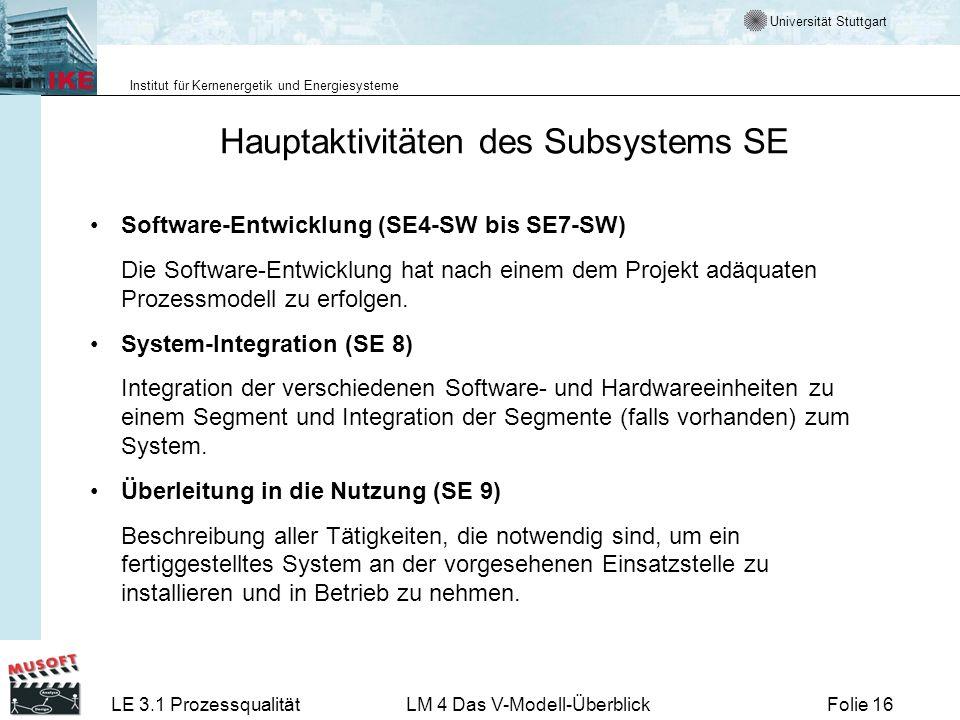 Universität Stuttgart Institut für Kernenergetik und Energiesysteme LE 3.1 ProzessqualitätLM 4 Das V-Modell-ÜberblickFolie 16 Hauptaktivitäten des Sub