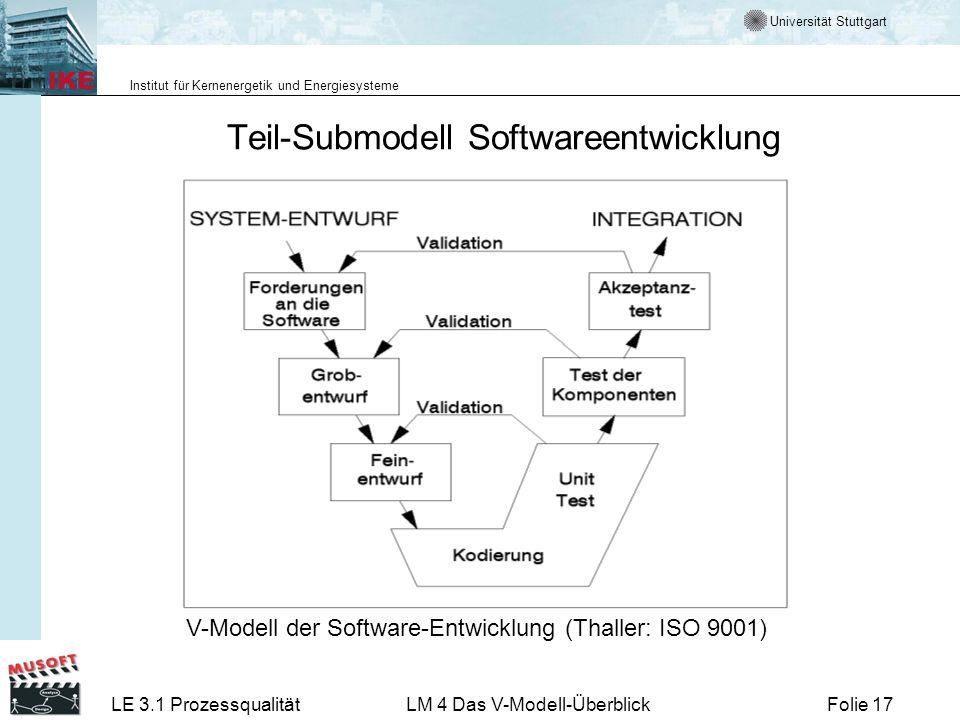 Universität Stuttgart Institut für Kernenergetik und Energiesysteme LE 3.1 ProzessqualitätLM 4 Das V-Modell-ÜberblickFolie 17 Teil-Submodell Softwaree