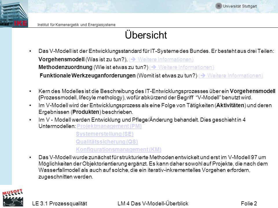 Universität Stuttgart Institut für Kernenergetik und Energiesysteme LE 3.1 ProzessqualitätLM 4 Das V-Modell-ÜberblickFolie 43 Anpassung des V-Modells an Projekte - Tailoring Das V-Modell soll sowohl für kleine als auch sehr große Projekte geeignet sein.