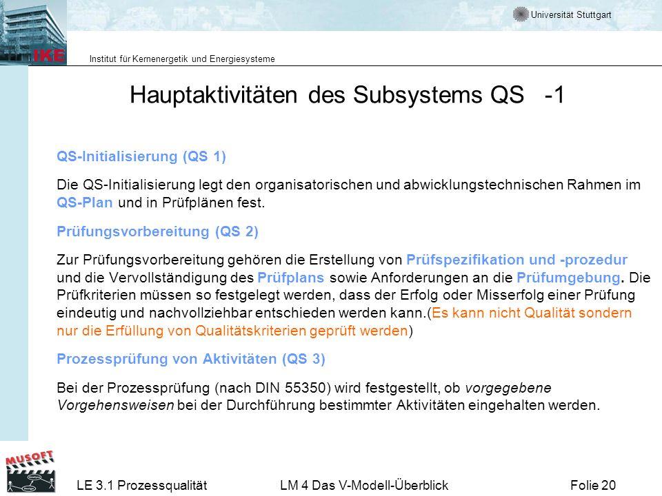 Universität Stuttgart Institut für Kernenergetik und Energiesysteme LE 3.1 ProzessqualitätLM 4 Das V-Modell-ÜberblickFolie 20 Hauptaktivitäten des Sub