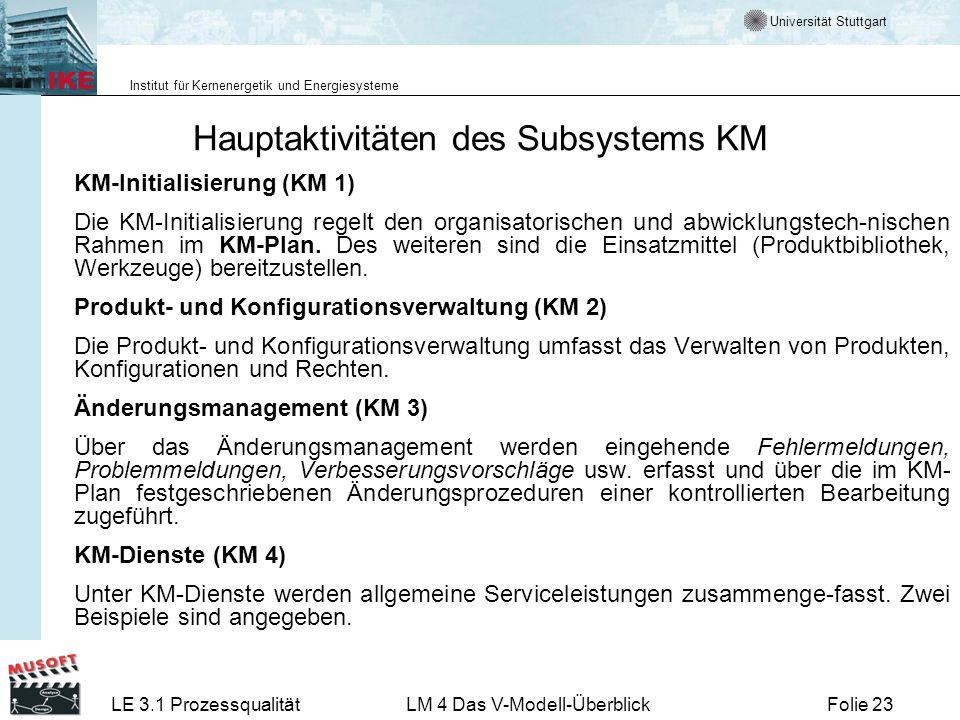 Universität Stuttgart Institut für Kernenergetik und Energiesysteme LE 3.1 ProzessqualitätLM 4 Das V-Modell-ÜberblickFolie 23 Hauptaktivitäten des Sub