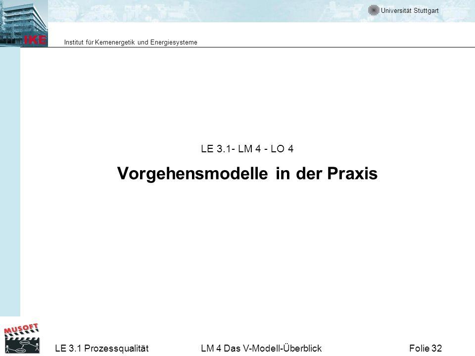 Universität Stuttgart Institut für Kernenergetik und Energiesysteme LE 3.1 ProzessqualitätLM 4 Das V-Modell-ÜberblickFolie 32 LE 3.1- LM 4 - LO 4 Vorg