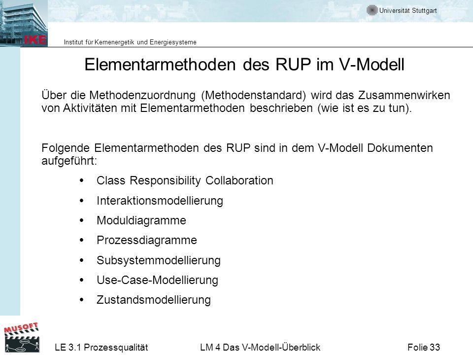 Universität Stuttgart Institut für Kernenergetik und Energiesysteme LE 3.1 ProzessqualitätLM 4 Das V-Modell-ÜberblickFolie 33 Über die Methodenzuordnu