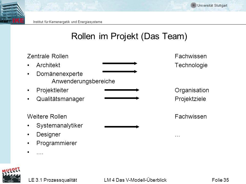Universität Stuttgart Institut für Kernenergetik und Energiesysteme LE 3.1 ProzessqualitätLM 4 Das V-Modell-ÜberblickFolie 35 Rollen im Projekt (Das T