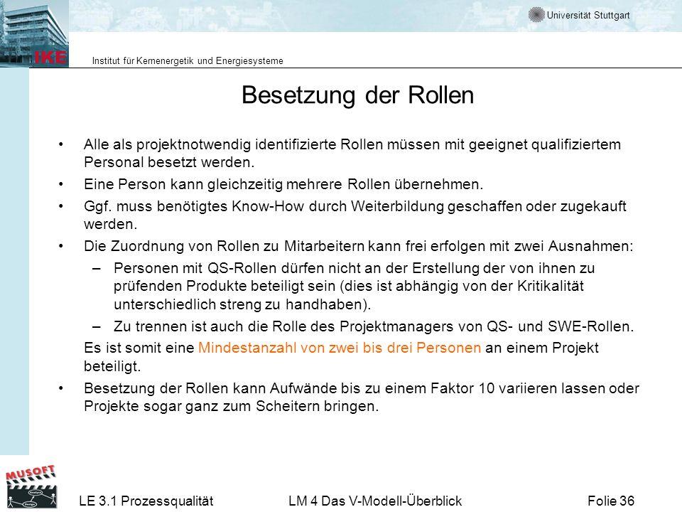 Universität Stuttgart Institut für Kernenergetik und Energiesysteme LE 3.1 ProzessqualitätLM 4 Das V-Modell-ÜberblickFolie 36 Besetzung der Rollen All