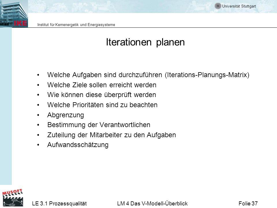 Universität Stuttgart Institut für Kernenergetik und Energiesysteme LE 3.1 ProzessqualitätLM 4 Das V-Modell-ÜberblickFolie 37 Iterationen planen Welch