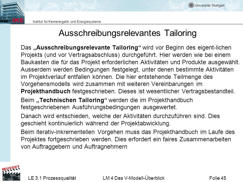 Universität Stuttgart Institut für Kernenergetik und Energiesysteme LE 3.1 ProzessqualitätLM 4 Das V-Modell-ÜberblickFolie 45 Ausschreibungsrelevantes