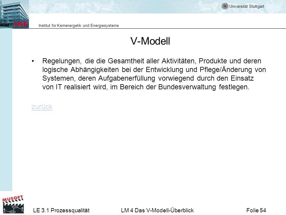 Universität Stuttgart Institut für Kernenergetik und Energiesysteme LE 3.1 ProzessqualitätLM 4 Das V-Modell-ÜberblickFolie 54 V-Modell Regelungen, die