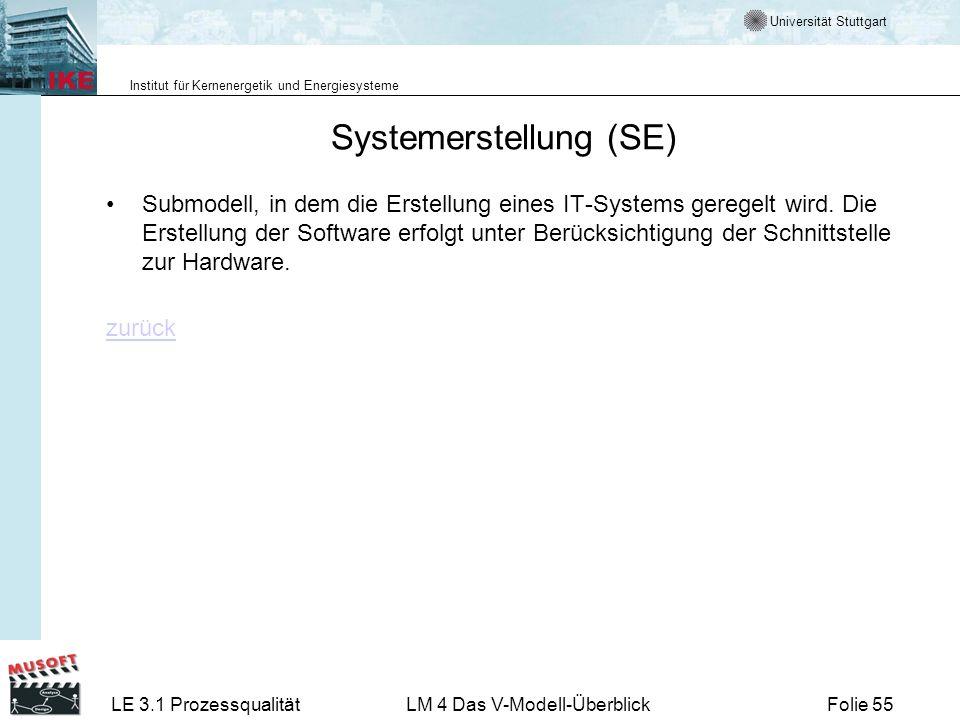 Universität Stuttgart Institut für Kernenergetik und Energiesysteme LE 3.1 ProzessqualitätLM 4 Das V-Modell-ÜberblickFolie 55 Systemerstellung (SE) Su