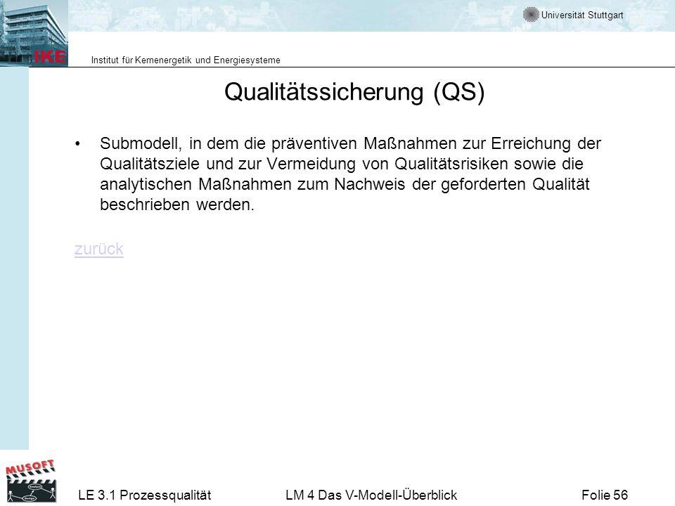 Universität Stuttgart Institut für Kernenergetik und Energiesysteme LE 3.1 ProzessqualitätLM 4 Das V-Modell-ÜberblickFolie 56 Qualitätssicherung (QS)