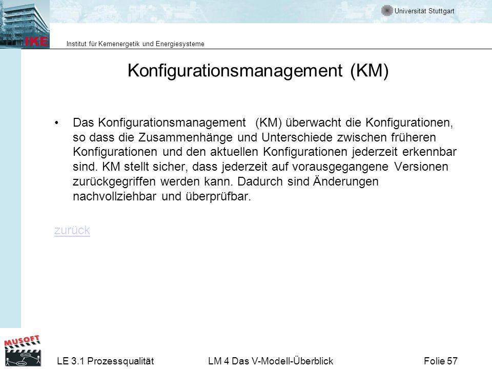 Universität Stuttgart Institut für Kernenergetik und Energiesysteme LE 3.1 ProzessqualitätLM 4 Das V-Modell-ÜberblickFolie 57 Konfigurationsmanagement
