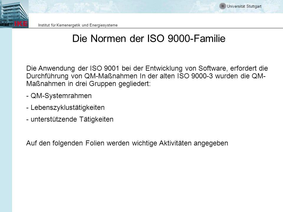 Universität Stuttgart Institut für Kernenergetik und Energiesysteme Die Normen der ISO 9000-Familie Die Anwendung der ISO 9001 bei der Entwicklung von