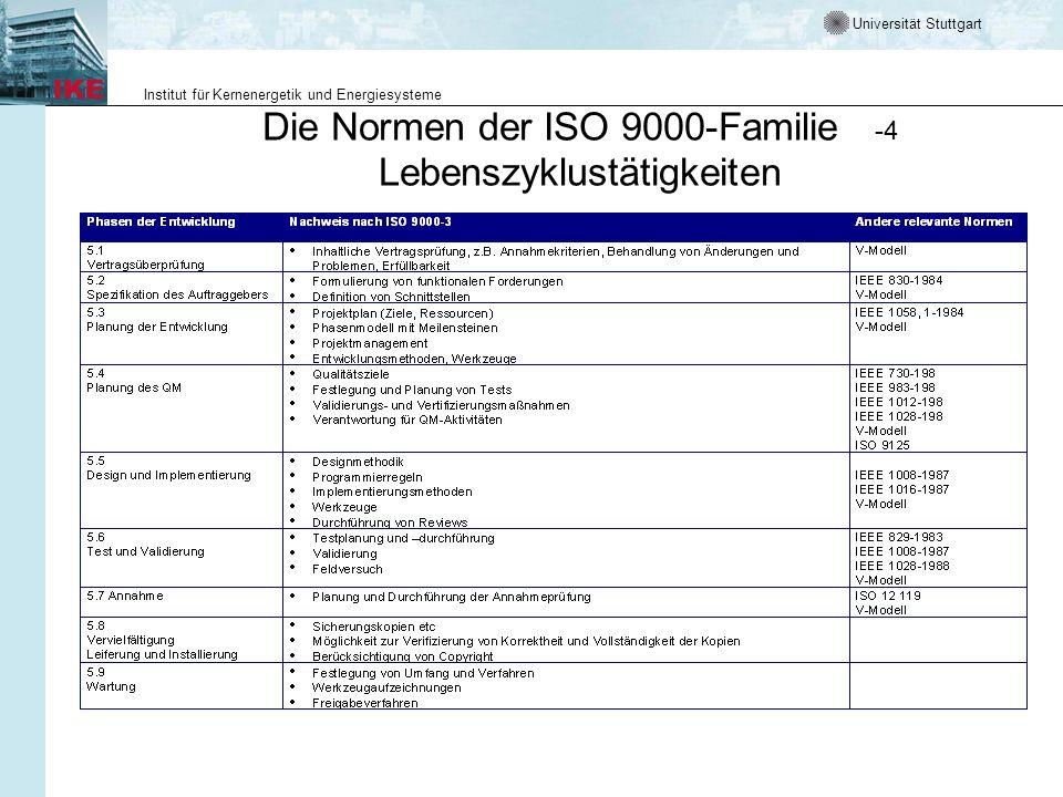 Universität Stuttgart Institut für Kernenergetik und Energiesysteme Die Normen der ISO 9000-Familie -4 Lebenszyklustätigkeiten