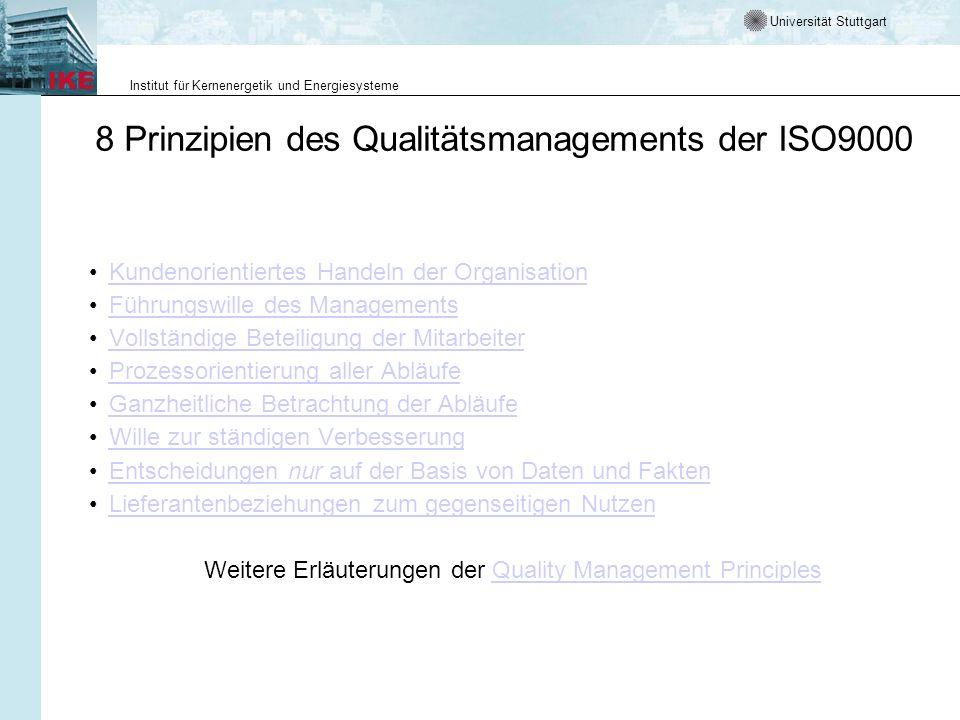 Universität Stuttgart Institut für Kernenergetik und Energiesysteme Die 4 Hauptnormen zum Qualitätsmanagement –ISO 9000 Grundlagen und Begriffe (erschienen in Englisch 8/00, in Deutsch 10/00) –ISO 9001 Qualitätsmanagement-Systeme: Forderungen (erschienen in Englisch 8/00, in Deutsch 10/00) –ISO 9004 Qualitätsmanagement-Systeme: Leitfaden zur Leistungsverbesserung (erschienen in Englisch 8/00, in Deutsch 10/00) –ISO 19 011 Leitfaden zum Auditieren von QM- und UM- Systemen (ISO-Norm 09/01, DIS 10/00, als CD 01/00 in Englisch)