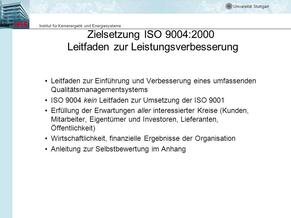 Universität Stuttgart Institut für Kernenergetik und Energiesysteme Schwerpunkte von ISO 9001 und ISO 9004 ISO 9001: Qualitätsmanagement-Systeme Untertitel: Forderungen –Minimalforderungen an ein QM-System –Forderungsumfang etwa wie ISO 9001(1994) ISO 9004: Qualitätsmanagement-Systeme Untertitel: Leitfaden zur Leistungsverbesserung –Nicht mehr Leitfaden für Implementierung der ISO 9001 –Geht über ISO 9001(1994) hinaus –Strebt nach Exzellenz Die neuen Normen sind vor allem Kunden- und Prozess-orientiert