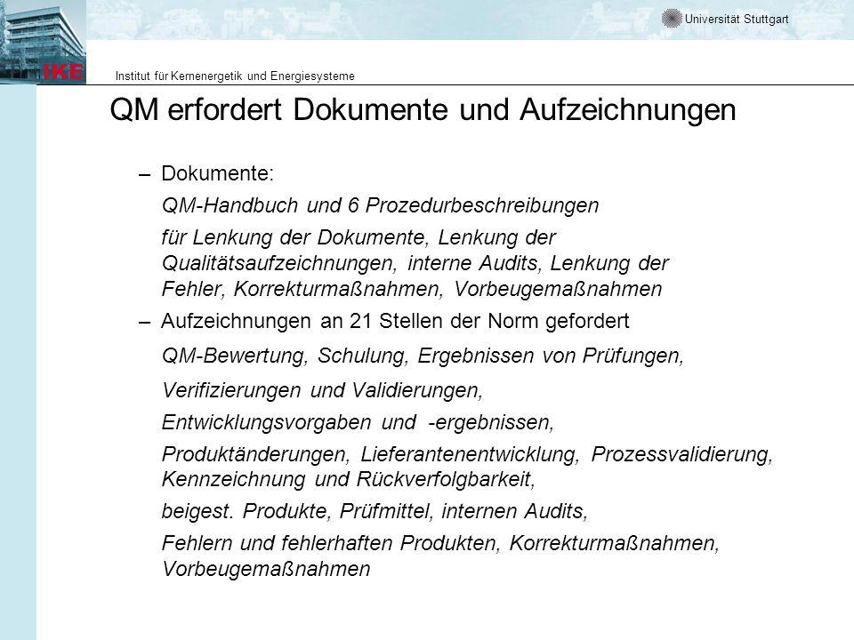 Universität Stuttgart Institut für Kernenergetik und Energiesysteme QM erfordert Dokumente und Aufzeichnungen –Dokumente: QM-Handbuch und 6 Prozedurbe