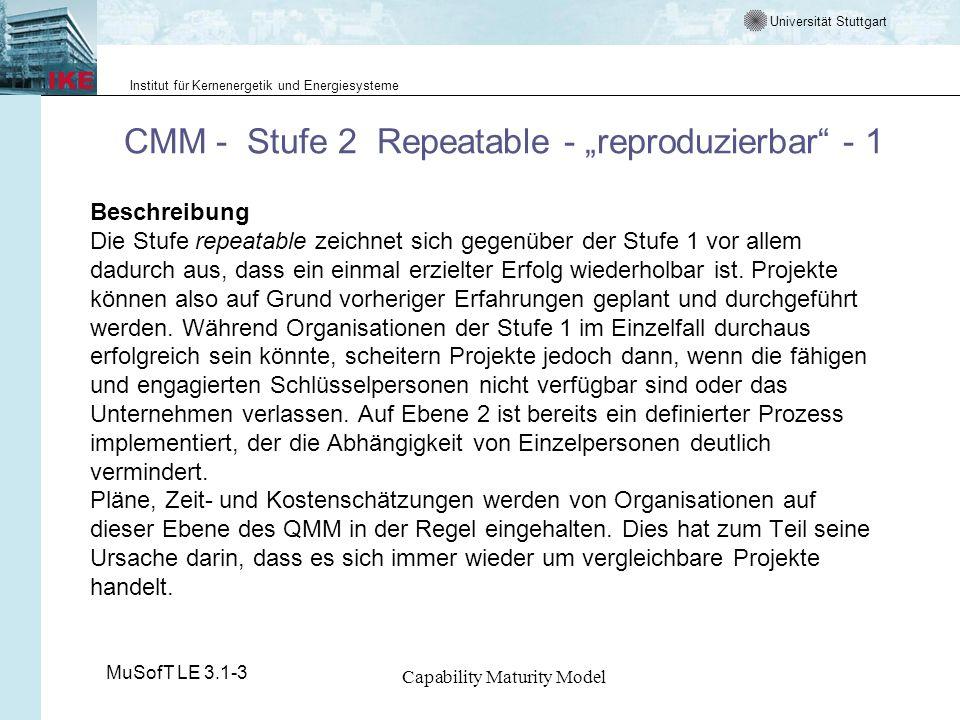 Universität Stuttgart Institut für Kernenergetik und Energiesysteme MuSofT LE 3.1-3 Capability Maturity Model CMM - Stufe 2 Repeatable - reproduzierba