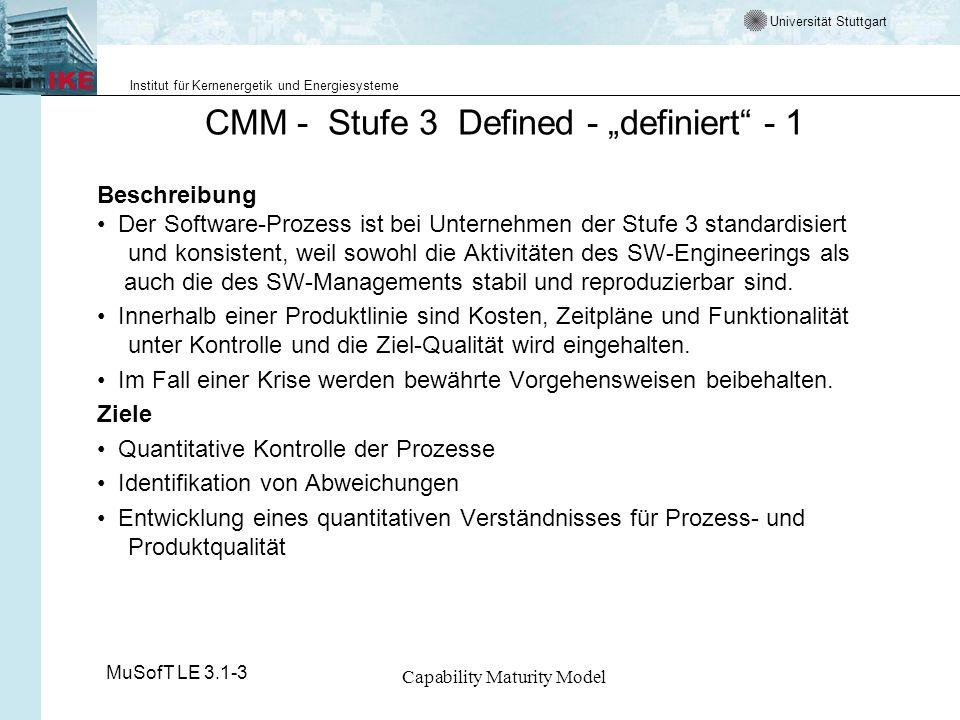 Universität Stuttgart Institut für Kernenergetik und Energiesysteme MuSofT LE 3.1-3 Capability Maturity Model CMM - Stufe 3 Defined - definiert - 1 Be