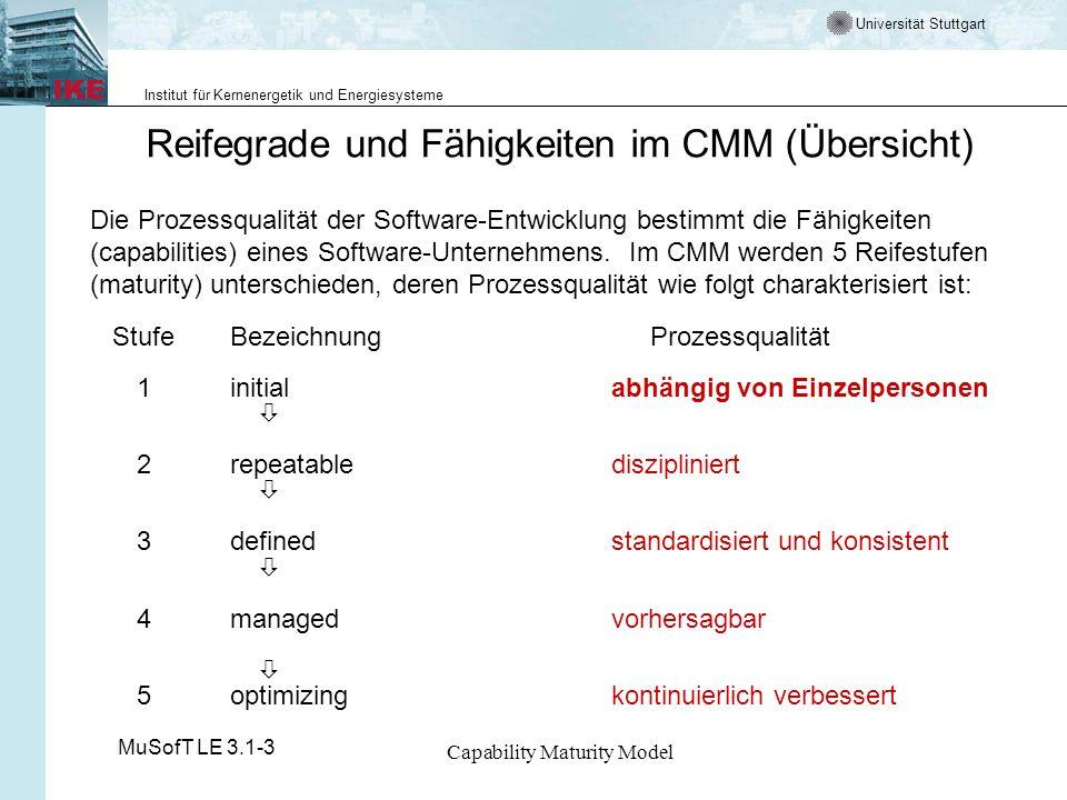 Universität Stuttgart Institut für Kernenergetik und Energiesysteme MuSofT LE 3.1-3 Capability Maturity Model CMM - Stufe 2 Repeatable - reproduzierbar - 3 Ziele Institutionalisierung des Managementprozesses, um erfolgreiche Praktiken wiederverwendbar zu machen.