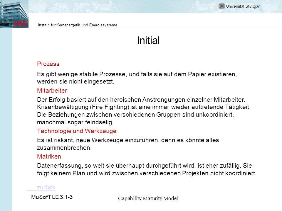 Universität Stuttgart Institut für Kernenergetik und Energiesysteme MuSofT LE 3.1-3 Capability Maturity Model Initial Prozess Es gibt wenige stabile Prozesse, und falls sie auf dem Papier existieren, werden sie nicht eingesetzt.