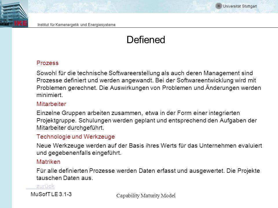 Universität Stuttgart Institut für Kernenergetik und Energiesysteme MuSofT LE 3.1-3 Capability Maturity Model Defiened Prozess Sowohl für die technische Softwareerstellung als auch deren Management sind Prozesse definiert und werden angewandt.