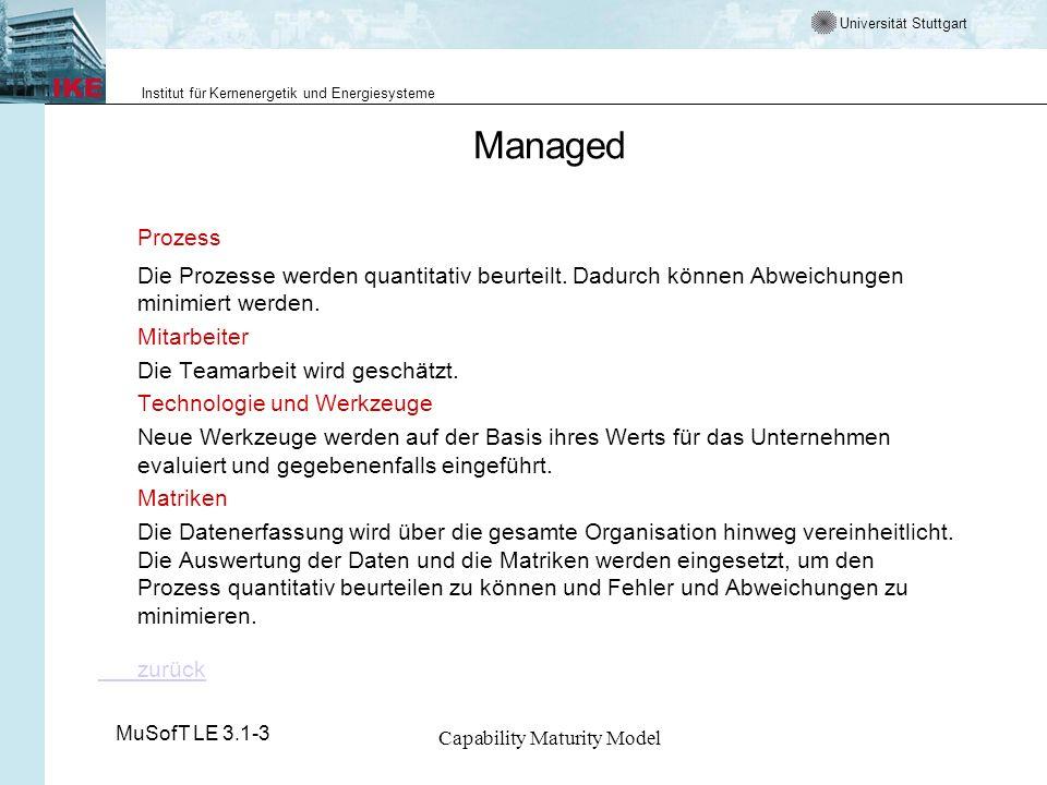 Universität Stuttgart Institut für Kernenergetik und Energiesysteme MuSofT LE 3.1-3 Capability Maturity Model Managed Prozess Die Prozesse werden quantitativ beurteilt.
