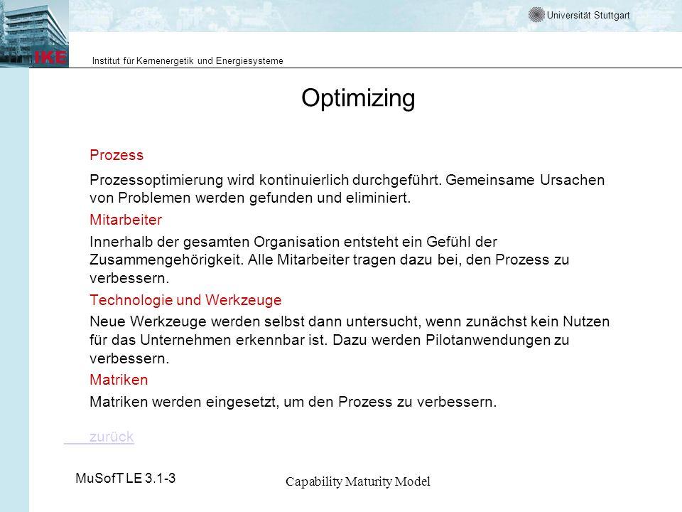 Universität Stuttgart Institut für Kernenergetik und Energiesysteme MuSofT LE 3.1-3 Capability Maturity Model Optimizing Prozess Prozessoptimierung wird kontinuierlich durchgeführt.
