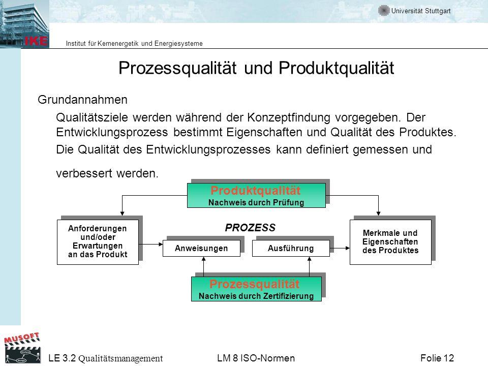 Universität Stuttgart Institut für Kernenergetik und Energiesysteme Folie 12 LE 3.2 Qualitätsmanagement LM 8 ISO-Normen Prozessqualität und Produktqua