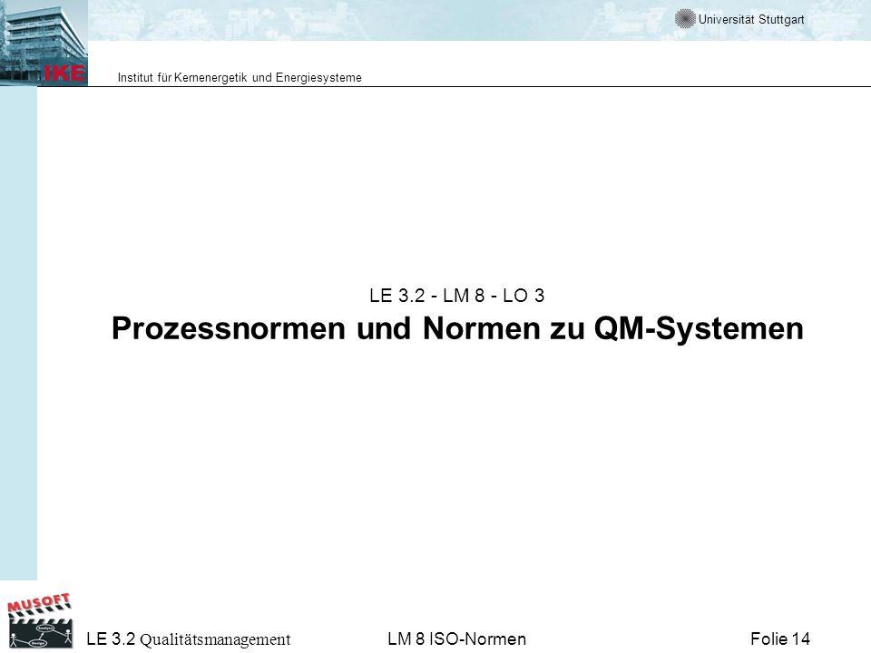 Universität Stuttgart Institut für Kernenergetik und Energiesysteme Folie 14 LE 3.2 Qualitätsmanagement LM 8 ISO-Normen LE 3.2 - LM 8 - LO 3 Prozessno