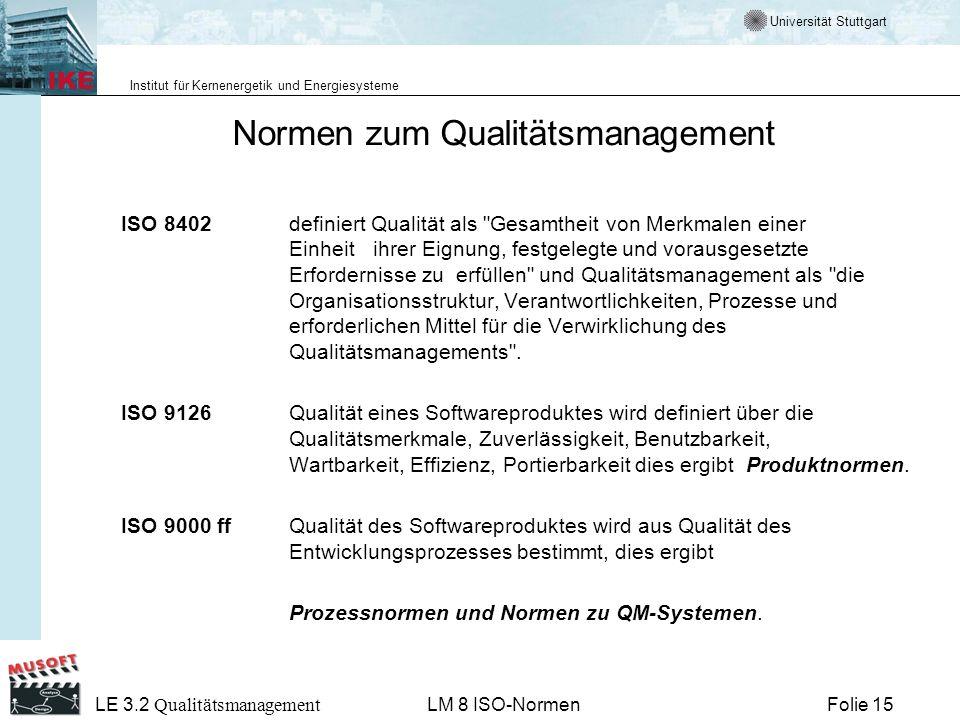 Universität Stuttgart Institut für Kernenergetik und Energiesysteme Folie 15 LE 3.2 Qualitätsmanagement LM 8 ISO-Normen Normen zum Qualitätsmanagement