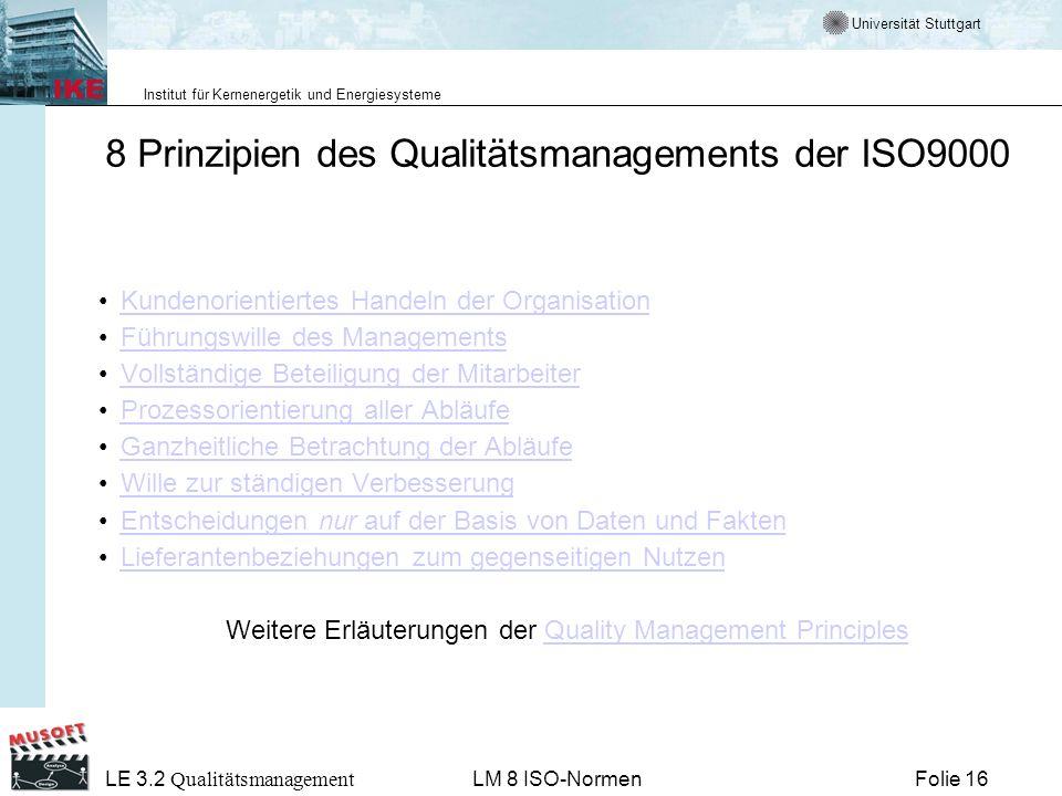 Universität Stuttgart Institut für Kernenergetik und Energiesysteme Folie 16 LE 3.2 Qualitätsmanagement LM 8 ISO-Normen 8 Prinzipien des Qualitätsmana