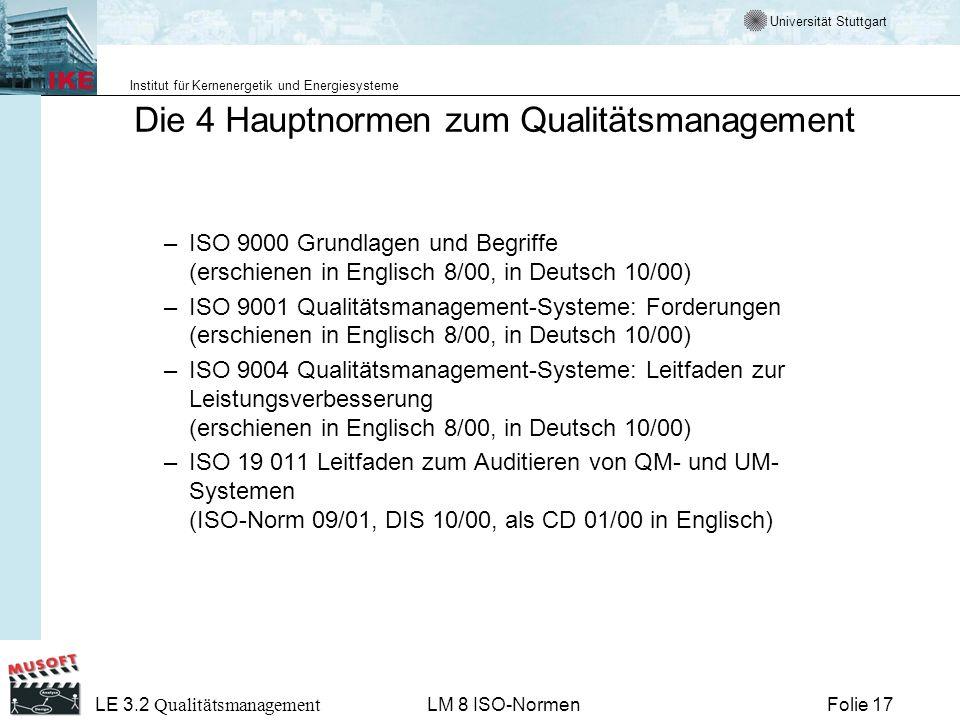 Universität Stuttgart Institut für Kernenergetik und Energiesysteme Folie 17 LE 3.2 Qualitätsmanagement LM 8 ISO-Normen Die 4 Hauptnormen zum Qualität