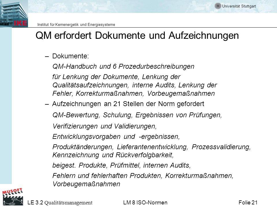 Universität Stuttgart Institut für Kernenergetik und Energiesysteme Folie 21 LE 3.2 Qualitätsmanagement LM 8 ISO-Normen QM erfordert Dokumente und Auf