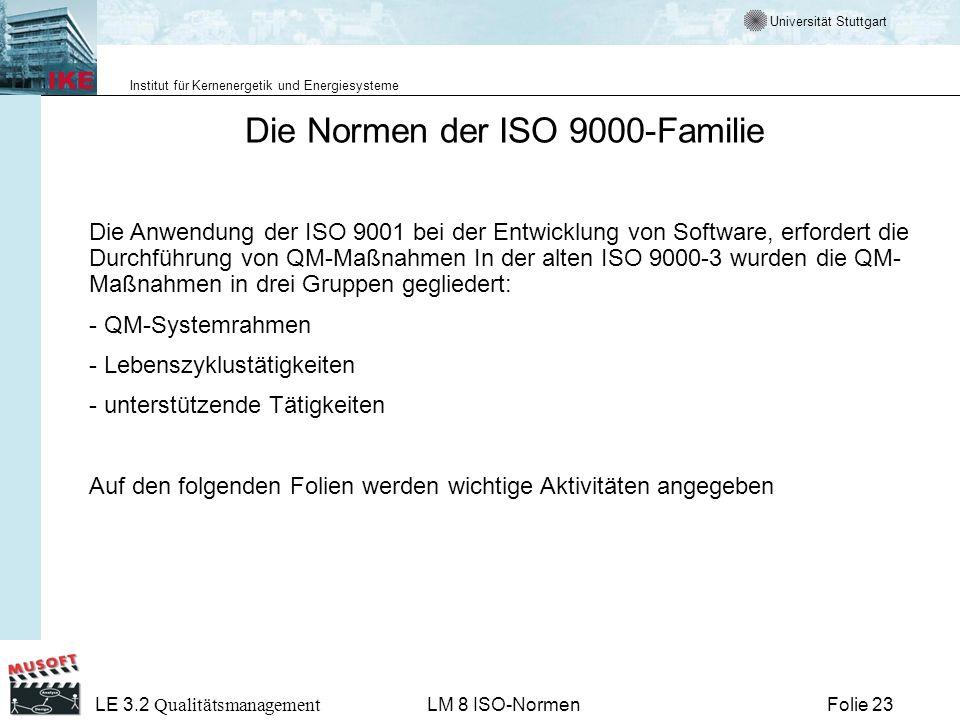 Universität Stuttgart Institut für Kernenergetik und Energiesysteme Folie 23 LE 3.2 Qualitätsmanagement LM 8 ISO-Normen Die Normen der ISO 9000-Famili