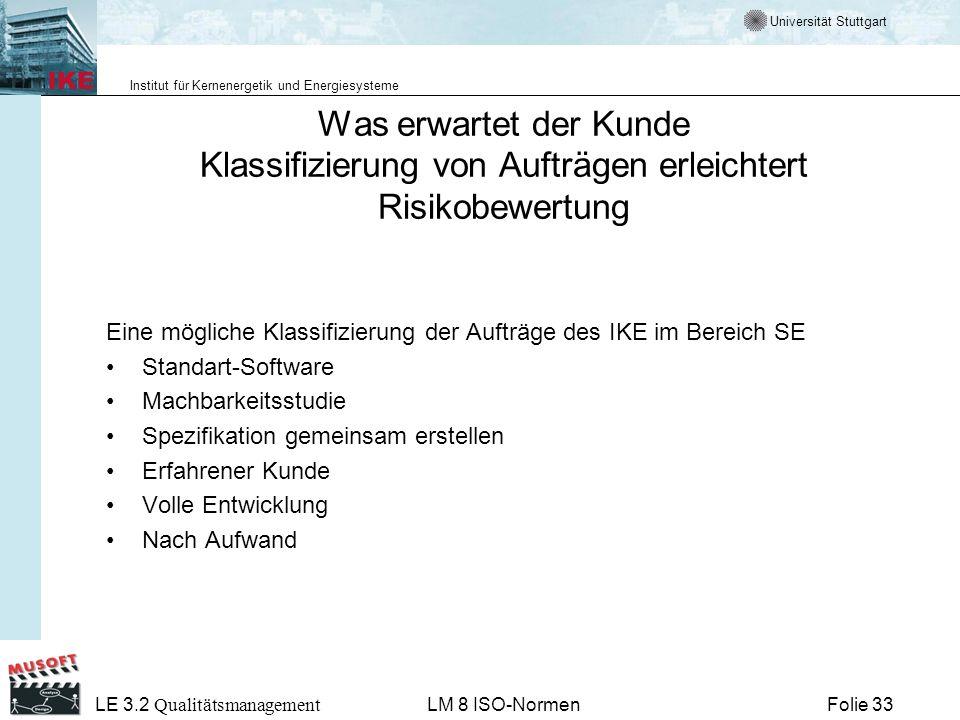 Universität Stuttgart Institut für Kernenergetik und Energiesysteme Folie 33 LE 3.2 Qualitätsmanagement LM 8 ISO-Normen Was erwartet der Kunde Klassif