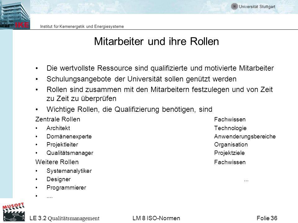 Universität Stuttgart Institut für Kernenergetik und Energiesysteme Folie 36 LE 3.2 Qualitätsmanagement LM 8 ISO-Normen Mitarbeiter und ihre Rollen Di
