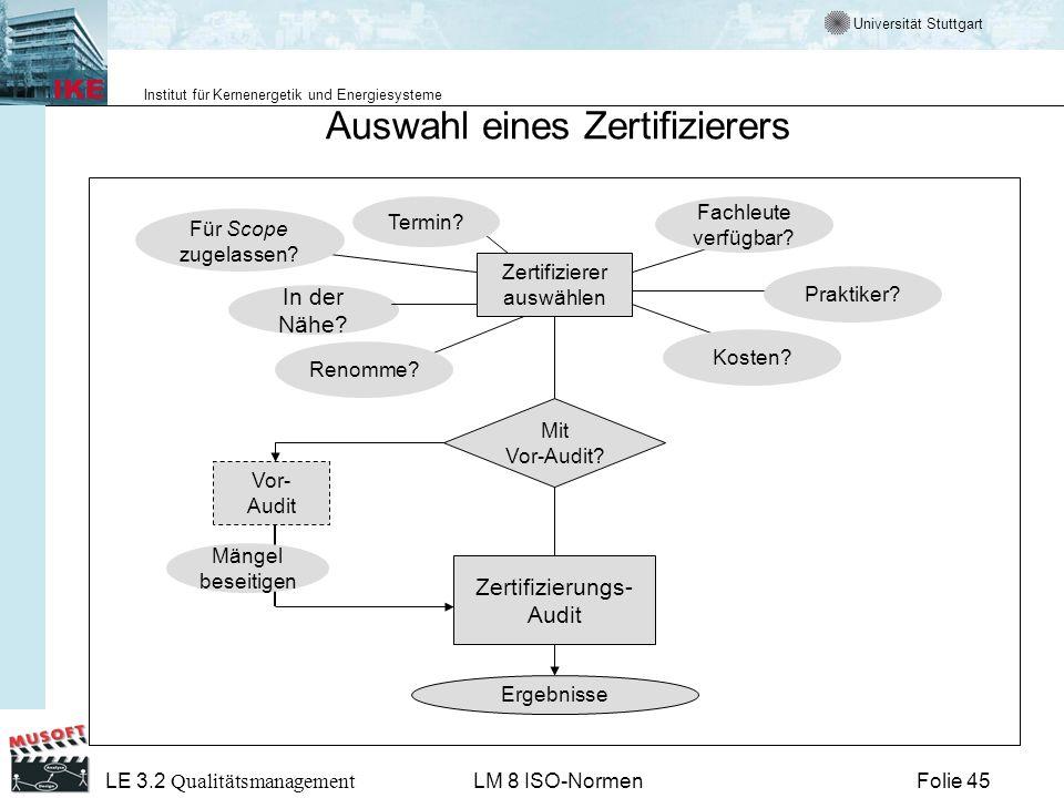 Universität Stuttgart Institut für Kernenergetik und Energiesysteme Folie 45 LE 3.2 Qualitätsmanagement LM 8 ISO-Normen Zertifizierer auswählen In der