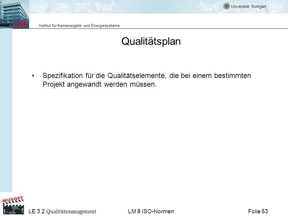 Universität Stuttgart Institut für Kernenergetik und Energiesysteme Folie 53 LE 3.2 Qualitätsmanagement LM 8 ISO-Normen Qualitätsplan Spezifikation fü