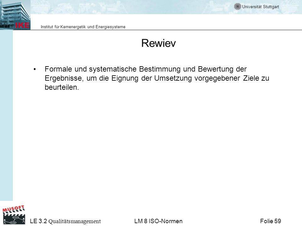 Universität Stuttgart Institut für Kernenergetik und Energiesysteme Folie 59 LE 3.2 Qualitätsmanagement LM 8 ISO-Normen Rewiev Formale und systematisc