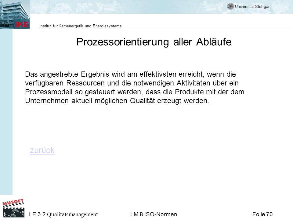 Universität Stuttgart Institut für Kernenergetik und Energiesysteme Folie 70 LE 3.2 Qualitätsmanagement LM 8 ISO-Normen Prozessorientierung aller Ablä