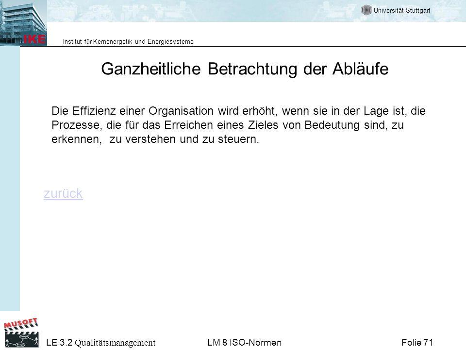 Universität Stuttgart Institut für Kernenergetik und Energiesysteme Folie 71 LE 3.2 Qualitätsmanagement LM 8 ISO-Normen Ganzheitliche Betrachtung der