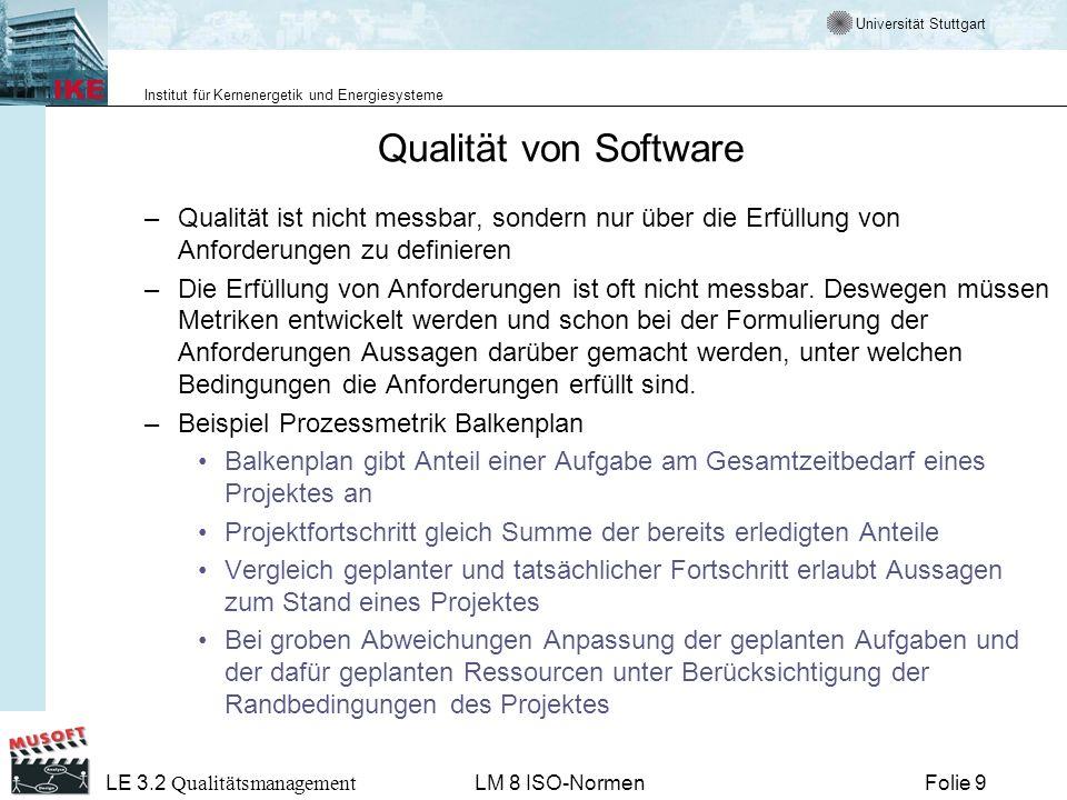 Universität Stuttgart Institut für Kernenergetik und Energiesysteme Folie 10 LE 3.2 Qualitätsmanagement LM 8 ISO-Normen Definitionen der Qualität von Software Crosby - Qualität ist die Erfüllung von Anforderungen.